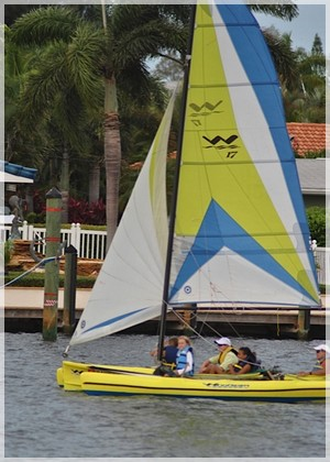 Yellow WindRider 17 at Bimini Bay Sailing